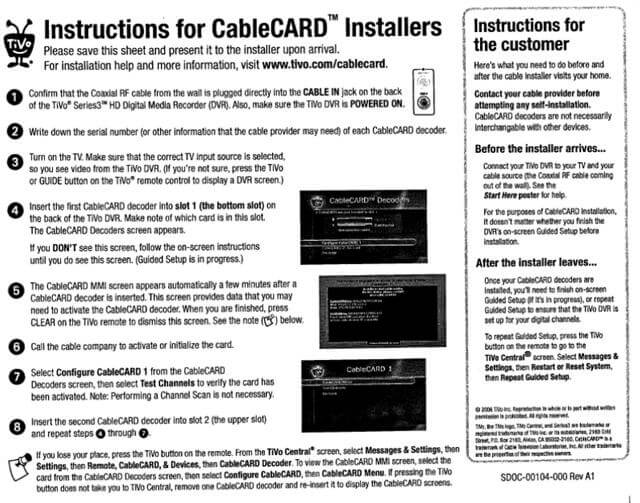 Tivo Cablecard Instructions